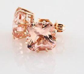 14 Karat Rose Gold Radiant Cut Morganite Stud Earrings By Samnsue
