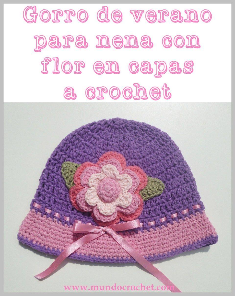 Patron gorro de verano para nena con flor en capas a crochet o ...