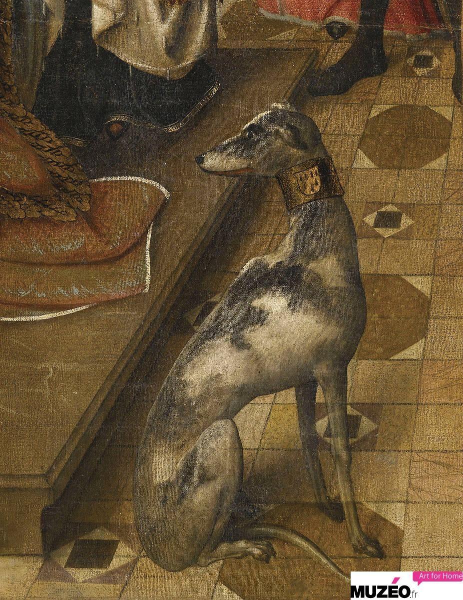 Master of the Legend of St. Ursula Dog art, Greyhound