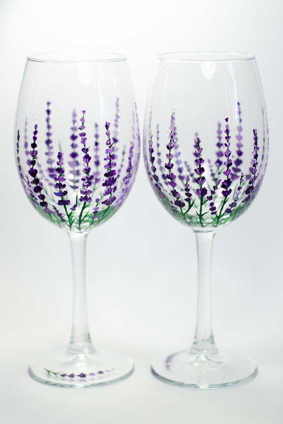 Wine Glasses Personalized Lavender Glasses Garden Party Gift