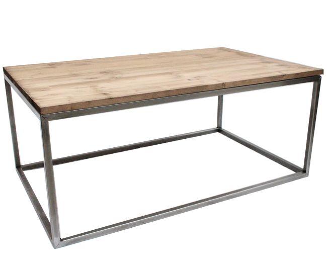 Mesa de centro industrial de hierro con madera de pino gallego ...