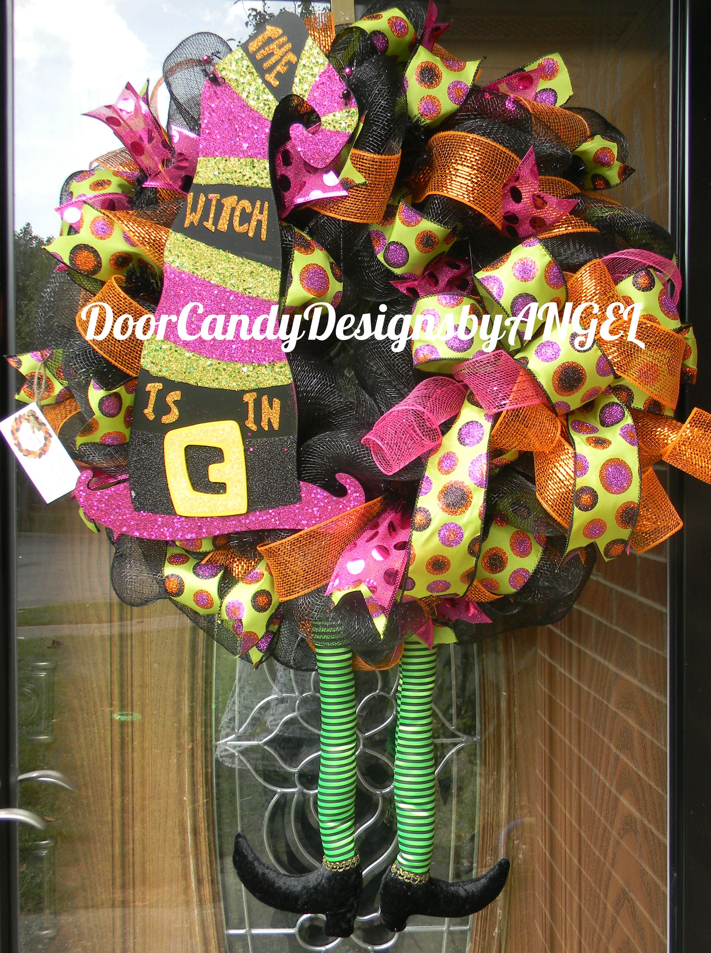 The Witch is In Deco mesh WReath Door Candy Designs by