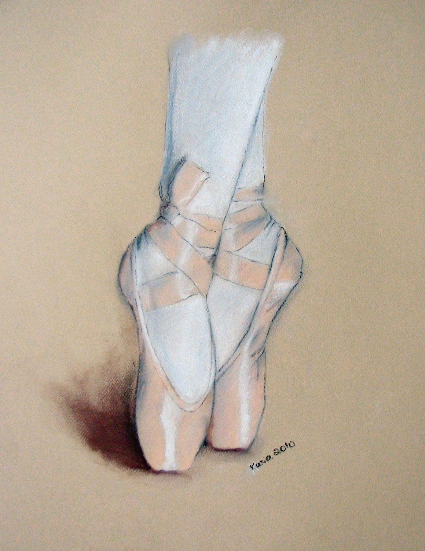 Ballet Shoes Original Pastel Drawing 11x14 Dessin Pastel Illustrations Pastel Dessin Original