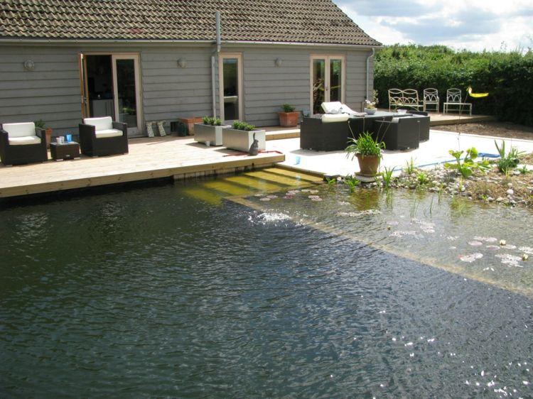 piscine naturelle avec plage-terrasse en bois massif et meubles en