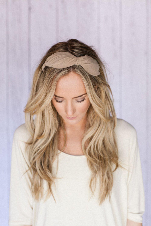 Brown fabric bow hair band chunky headband with bowlike twist