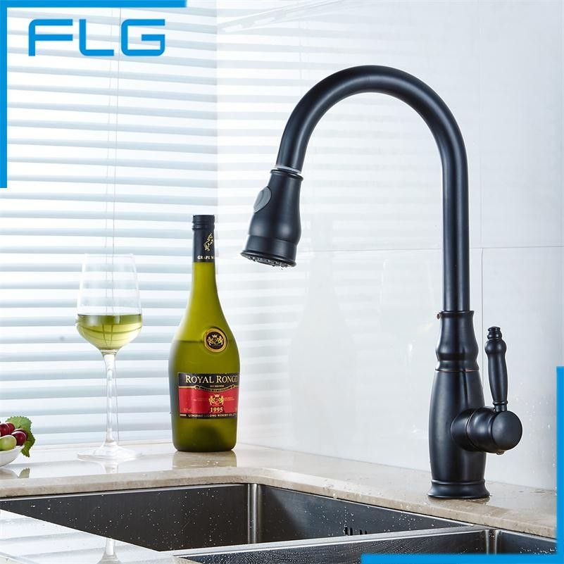 Single Holder Single Hole Black pull out kitchen faucet, oil rubbed