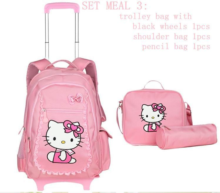 3cf05d56c2b Hello kitty school bags for girls rolling children backpack travel trolley  bag school backpacks wheels bolsas mochilas femininas