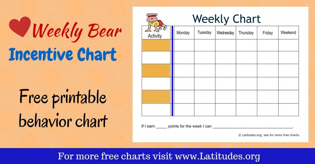 Free Weekly Incentive Chart Activity Bear  Activities Free