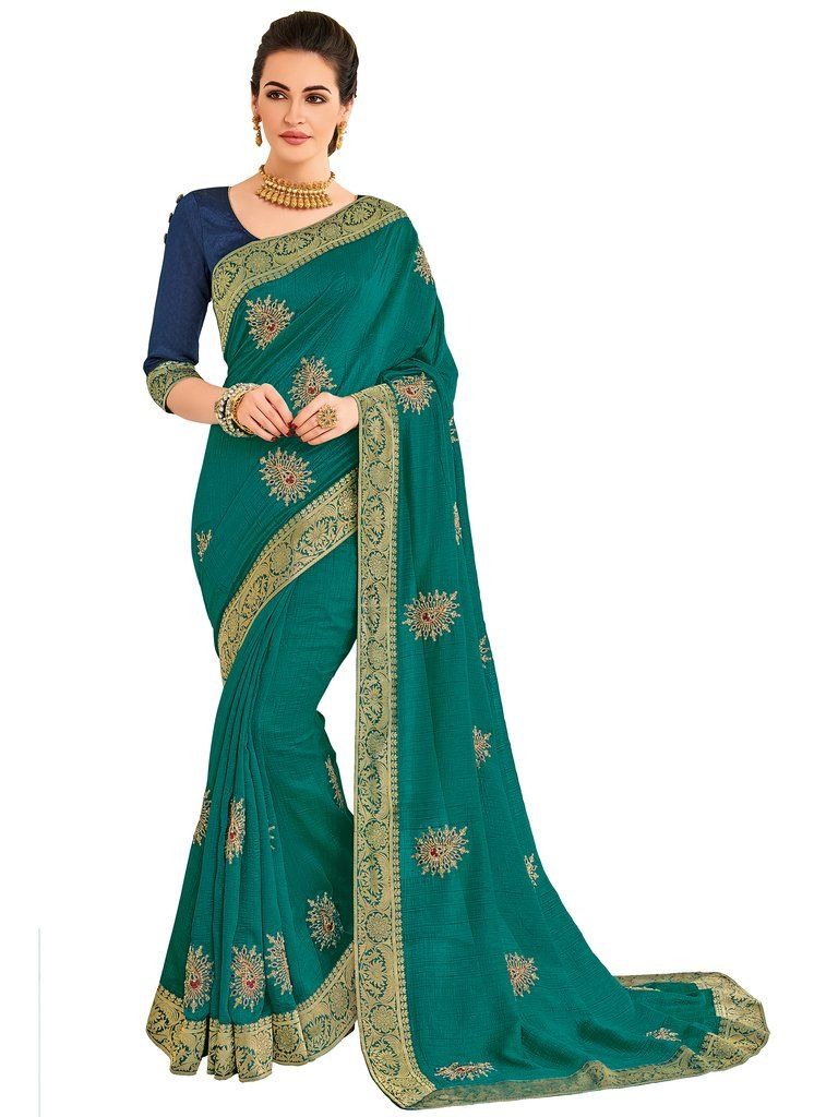 92c098cdc0f Turquoise Embroidered Art Silk Saree   Unstitched Blouse  fancy   fancysarees  sarees  saree