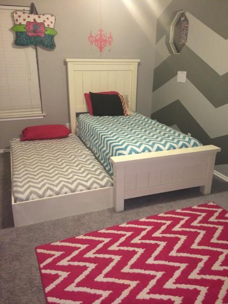 Twin farmhouse bed with trundle do it yourself home for Little girl twin bed frame