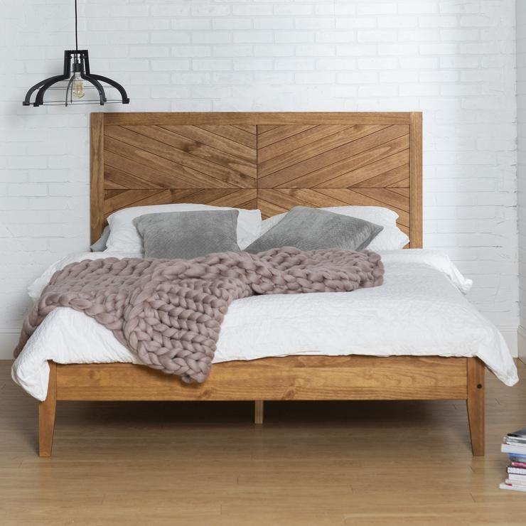 Chevron Solid Wood Queen Bed in 2020 | Wood bedroom ...