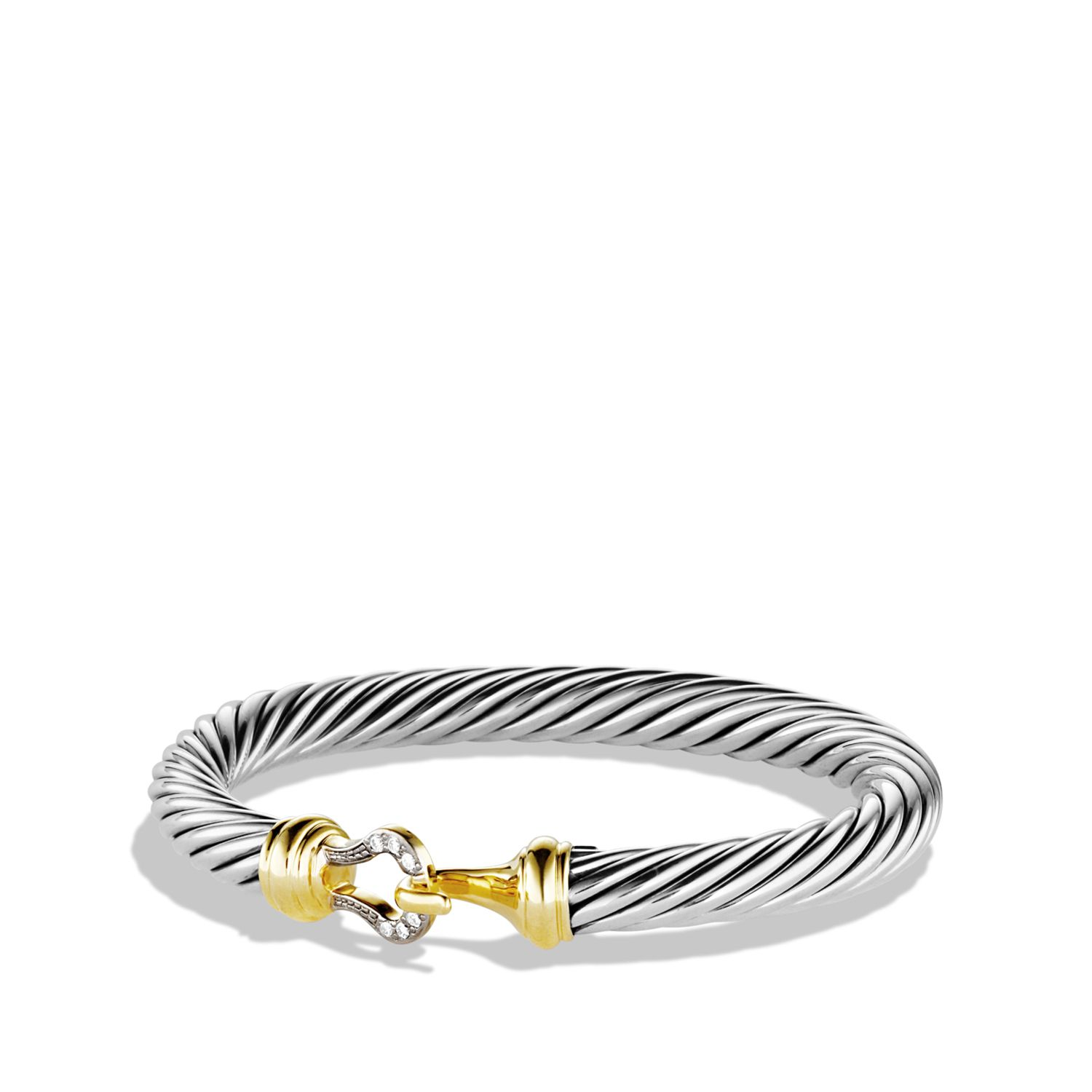 Cable Buckle Bracelet With Diamonds And Gold Jewelry