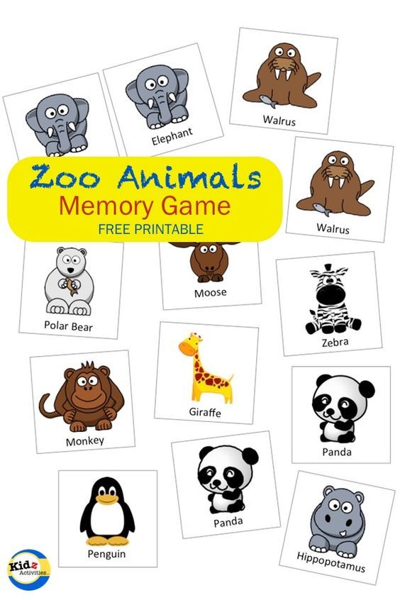 Zoo Animals Memory Game - Free Printable by Kidz Activities