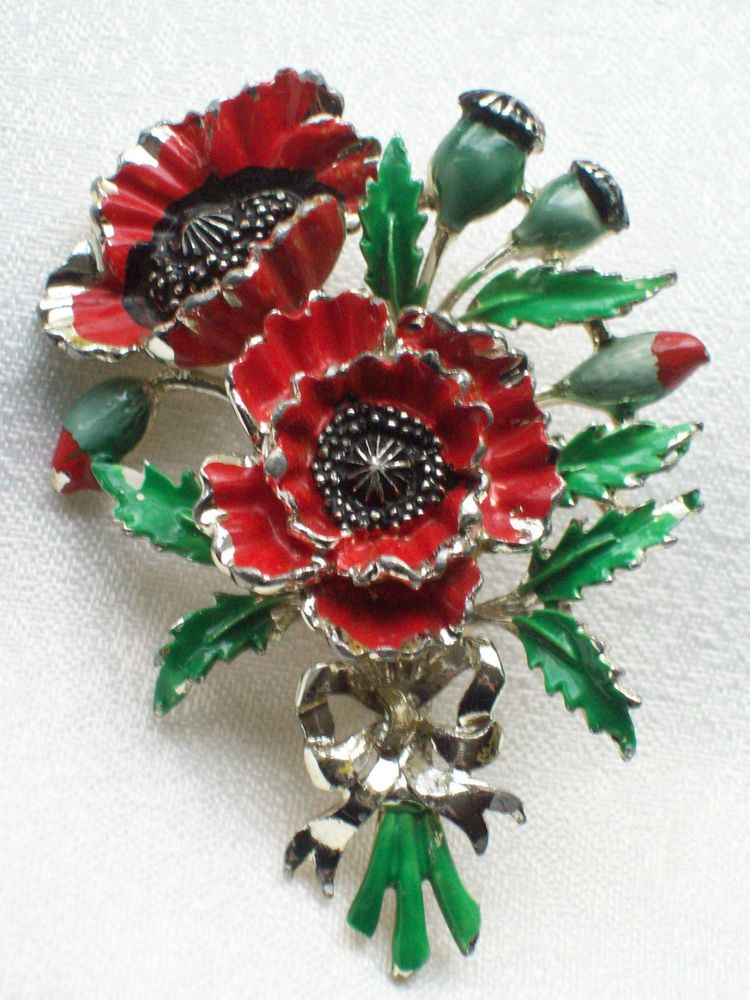 2ac4a5cefc2 VINTAGE JEWELLERY SIGNED EXQUISITE RED ENAMEL POPPY AUGUST BIRTHDAY BROOCH/ PIN. SOLD.