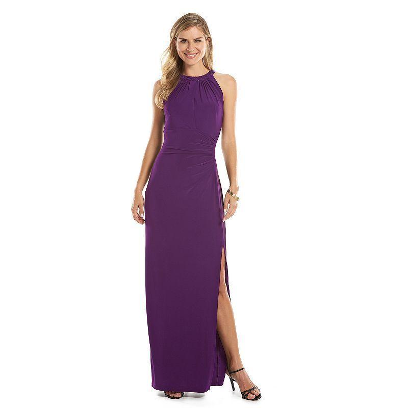 Women\'s Chaps Sequin-Trim Evening Gown, Size: 16, Purple   Sequins ...