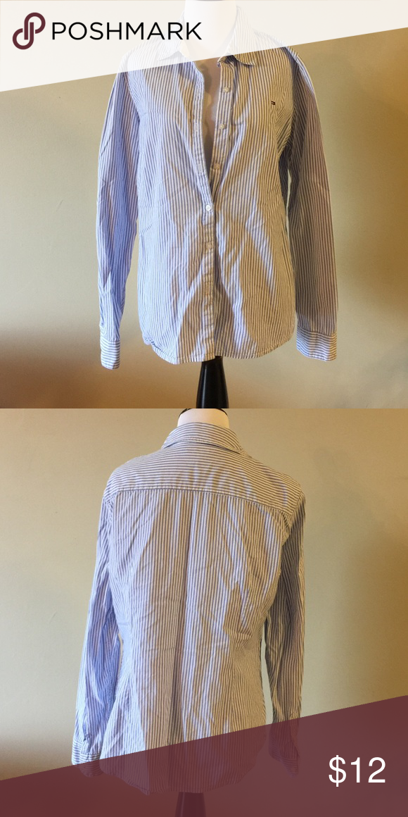 Tommy Hilfiger button down Blue and white striped Tommy Hilfiger button down. Tommy Hilfiger Tops Button Down Shirts