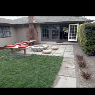 Backyard fire pit //www.hgtv.com/landscaping/landscape-update ... on back yard ponds and streams, back yard renovation ideas, back yard dream homes, back yard ideas with park benches, front exterior home designs, hangar home designs, double story home designs, back yard hillside waterfalls,