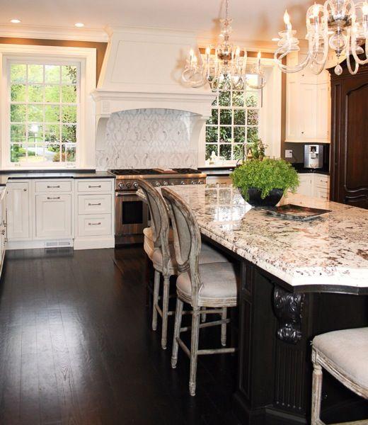 White Kitchen Cabinets With Dark Floors: Stunning White Kitchen With Dark Floors Lt And Dark Cabs