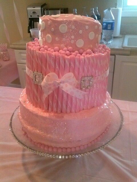 Pink Sparkle 1st Birthday Cake