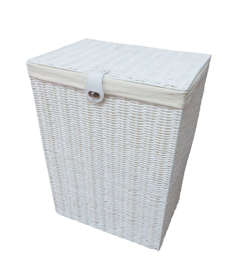 Laundry Basket Medium White Resin Box With Lid Lock By Arpan
