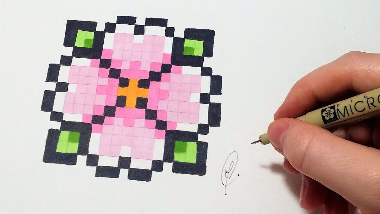 Pixel Art Facile Pixel Art Fleur Facile Youtube