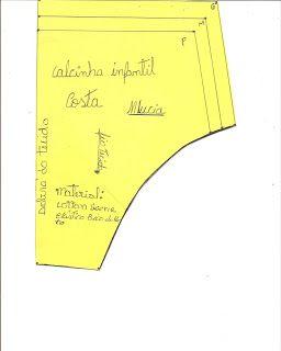 3891b7012 MOLDES VARIADOS E SELECIONADOS  MOLDE DE CALCINHA INFANTIL P M e G MOLDES  DE ROUPA DE BANHO