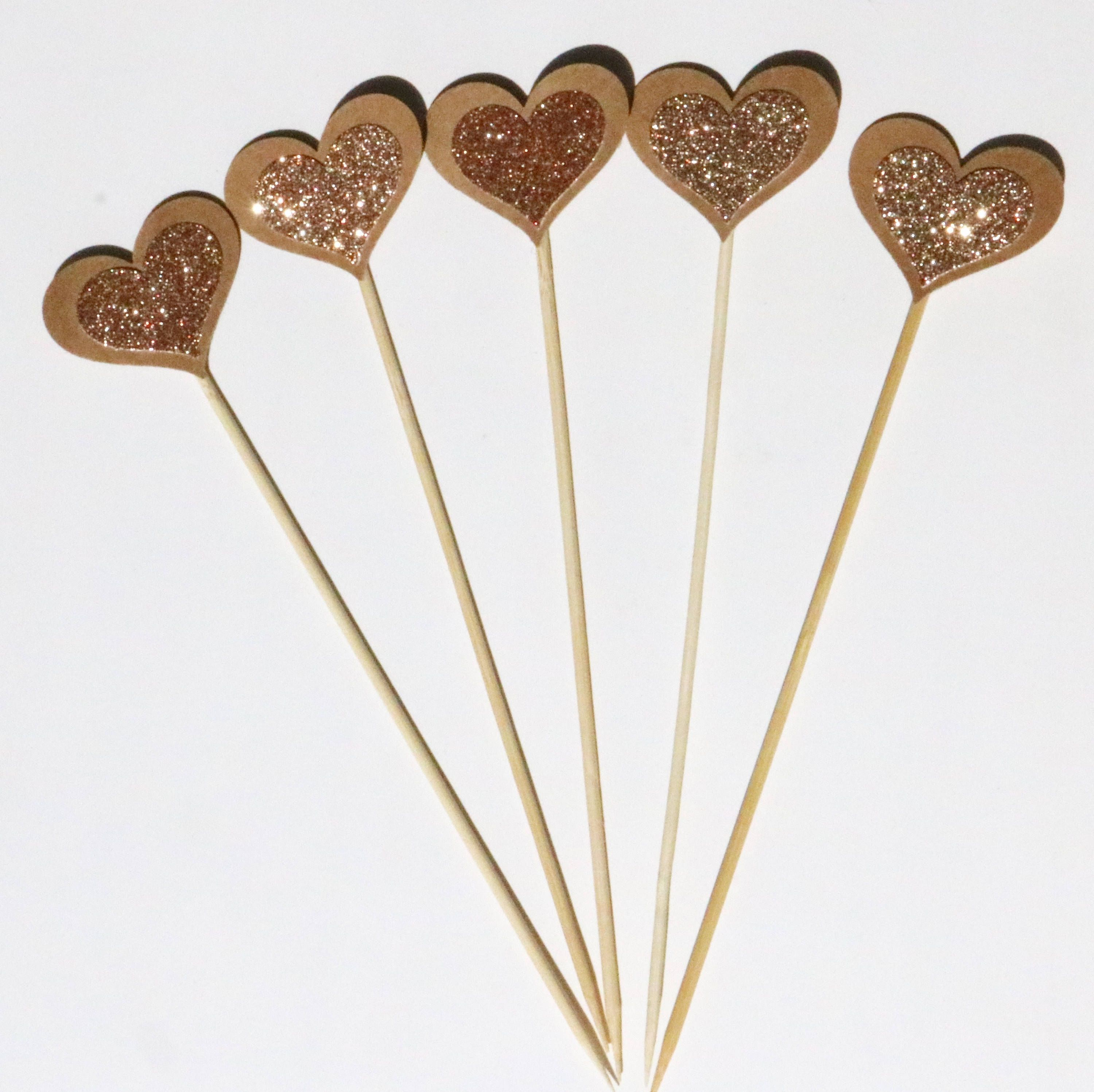 Double sided rose gold glitter heart cake toppers rustic wedding