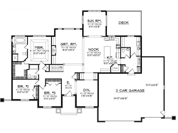 Home plan with tandem garage bing images home plans for Tandem garage house plans