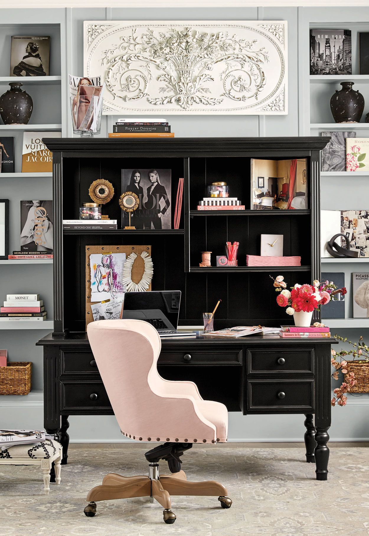A Blush Pink Desk Chair And Accessories Add A Feminine Touch To A