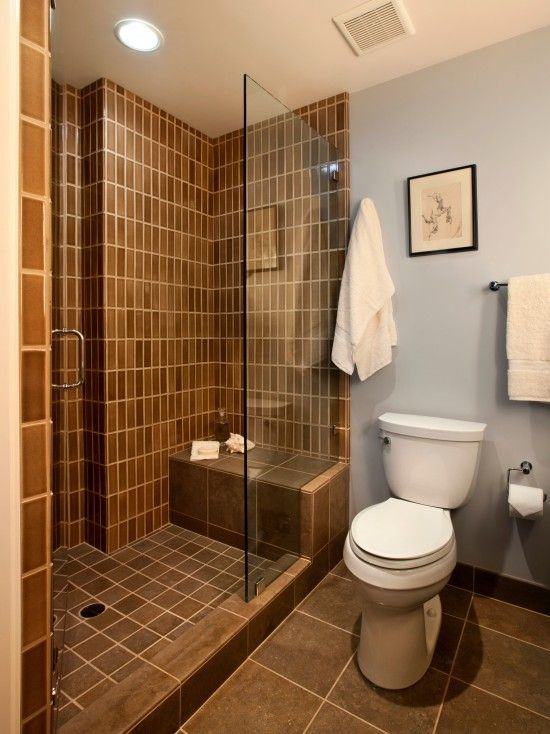 Open Shower Style Not The Color With Images Doorless Shower Design Bathroom Design Small Small Bathroom With Shower