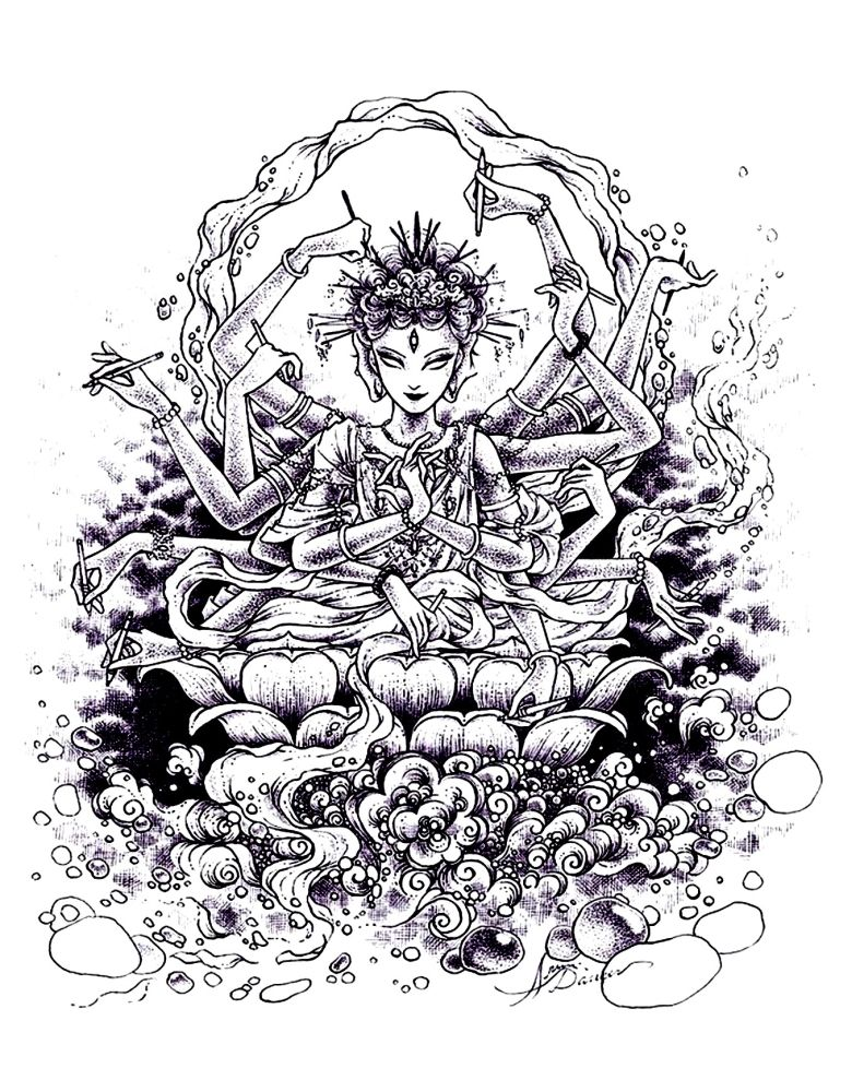 zen Indian drawing intricate coloring pages free for grown ups