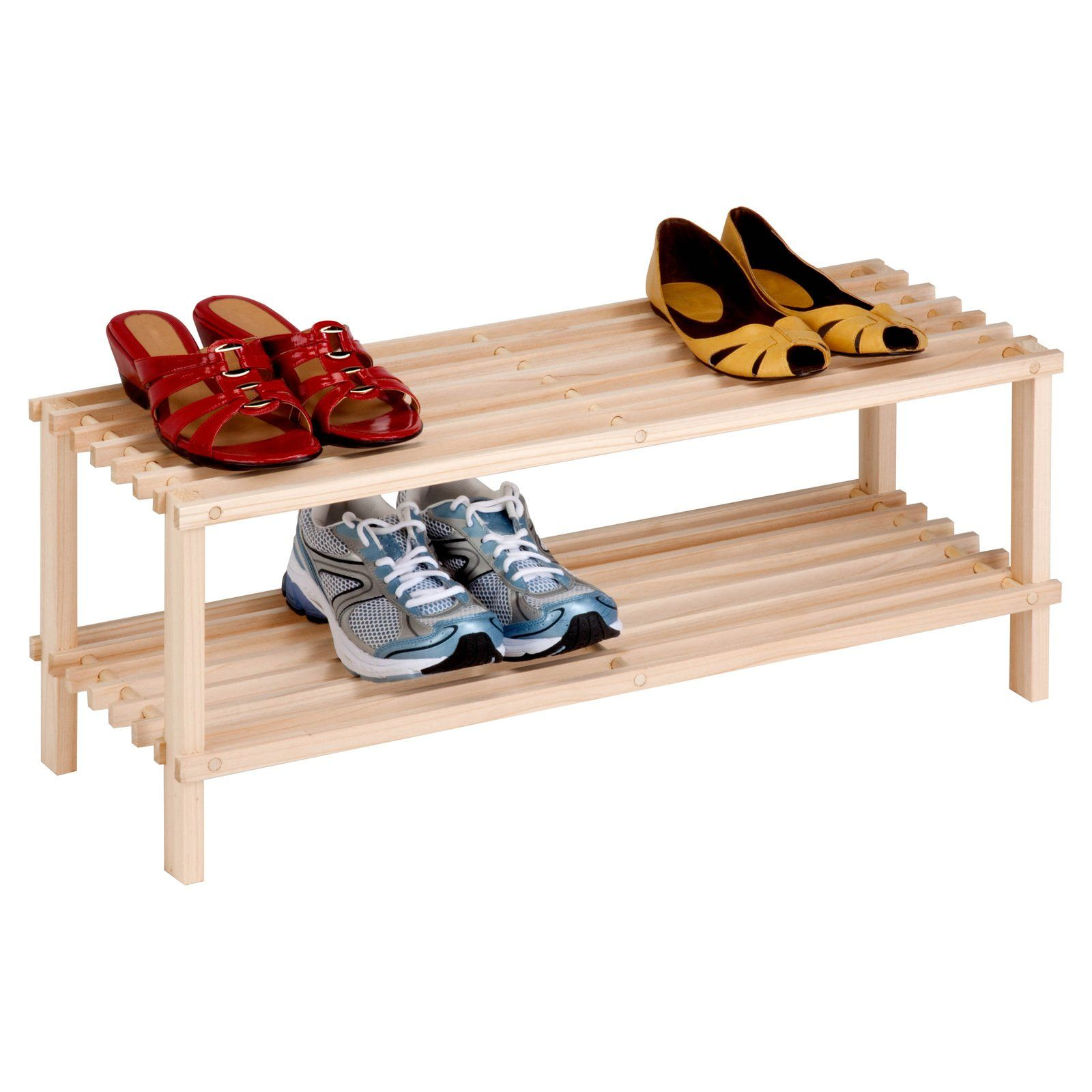 Have To Have It Honey Can Do 2 Tier Unfinished Natural Wood Shoe Rack 15 99 Hayneedle Wood Shoe Rack Wood Shoes Shoe Rack