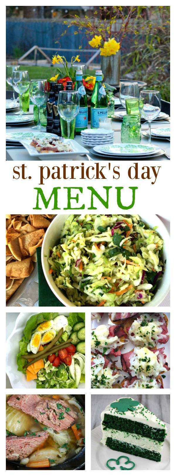 St. Patrick's Day Menu - everything you need to plan a fun St. Patrick's Day party with full menu of appetizers, salad, main dish, and dessert at Reluctant Entertainer