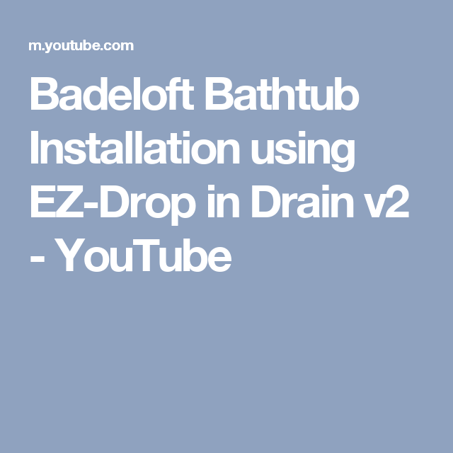 youtube tub drain installation
