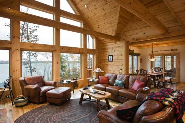 Log Cabin Great Room Photos | Legacy Quest | Wisconsin Log Cabin Getaway  Photos   LogHome