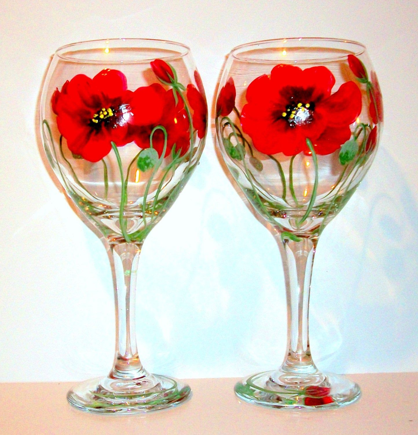 Red Poppies Flowers Poppy Hand Painted Wine Glasses Wedding Etsy In 2020 Hand Painted Wine Glasses Wedding Hand Painted Wine Glasses Wedding Wine Glasses