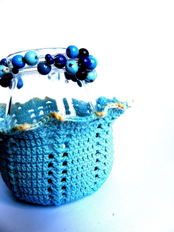 Candle holder upcycled glass jars crochet decorated by Leccio51, €32,00