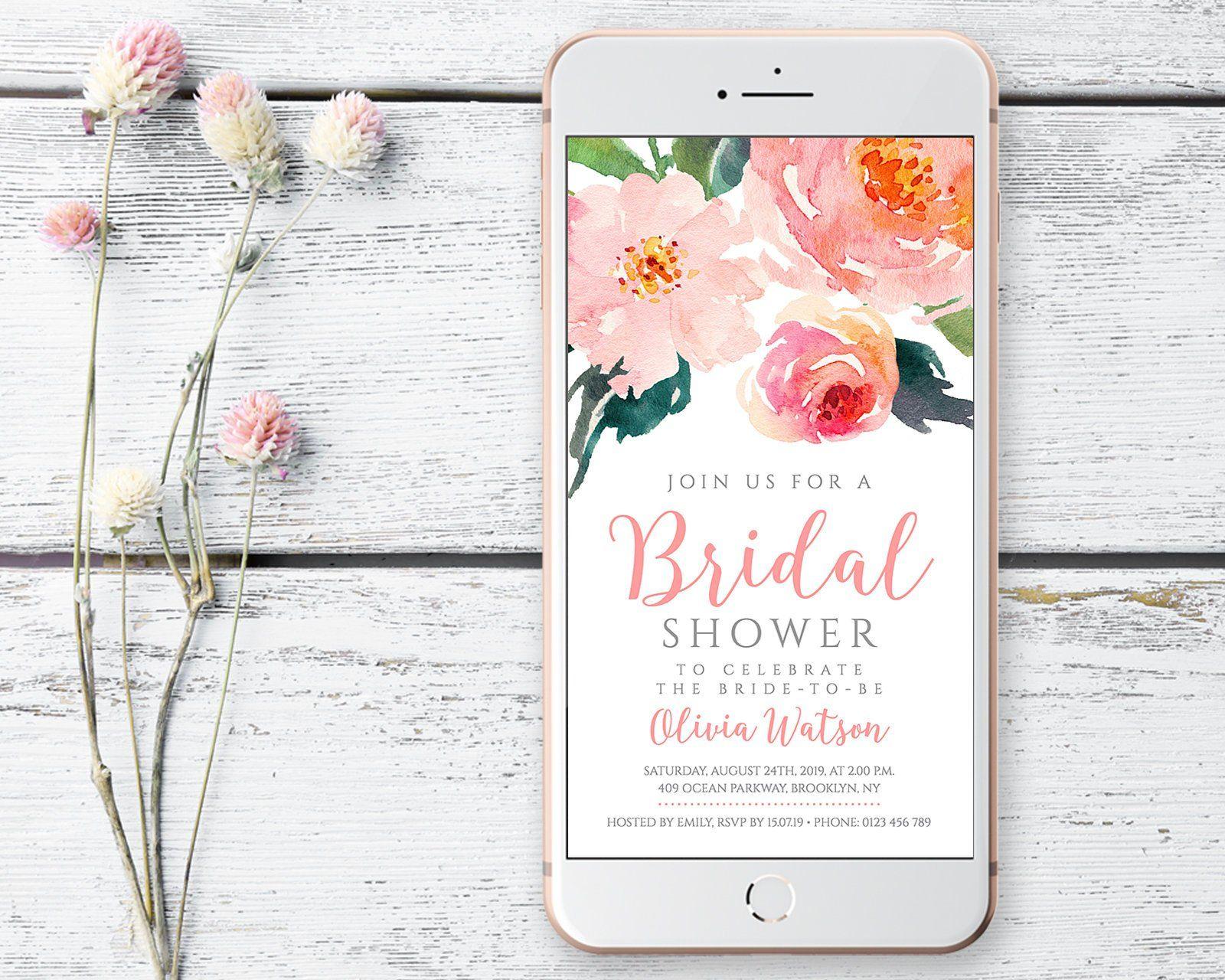 e008566b16e Electronic Bridal shower invitation with wild bohemian flowers ...