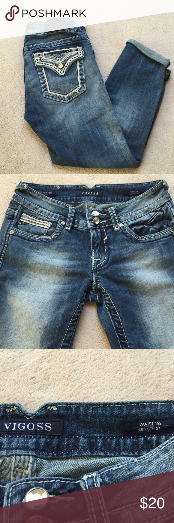 """Vigoss Capri Jeans Very cute Vigoss capris with detailing on the back pockets and light wash on the front legs. Waist measurement 26"""", length 21"""". In good used condition. Embellishment jewel on bottom of right side (second picture) pocket slightly loose. Smoke and pet free home. Vigoss Jeans Ankle & Cropped"""