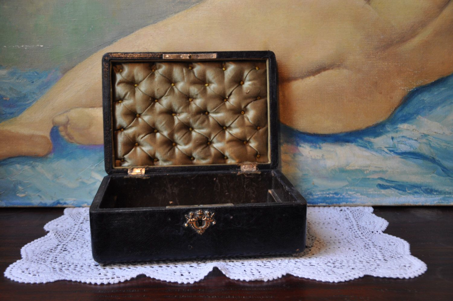 Antique Victorian French Jewelry Box Vintage Silk Casket Lining