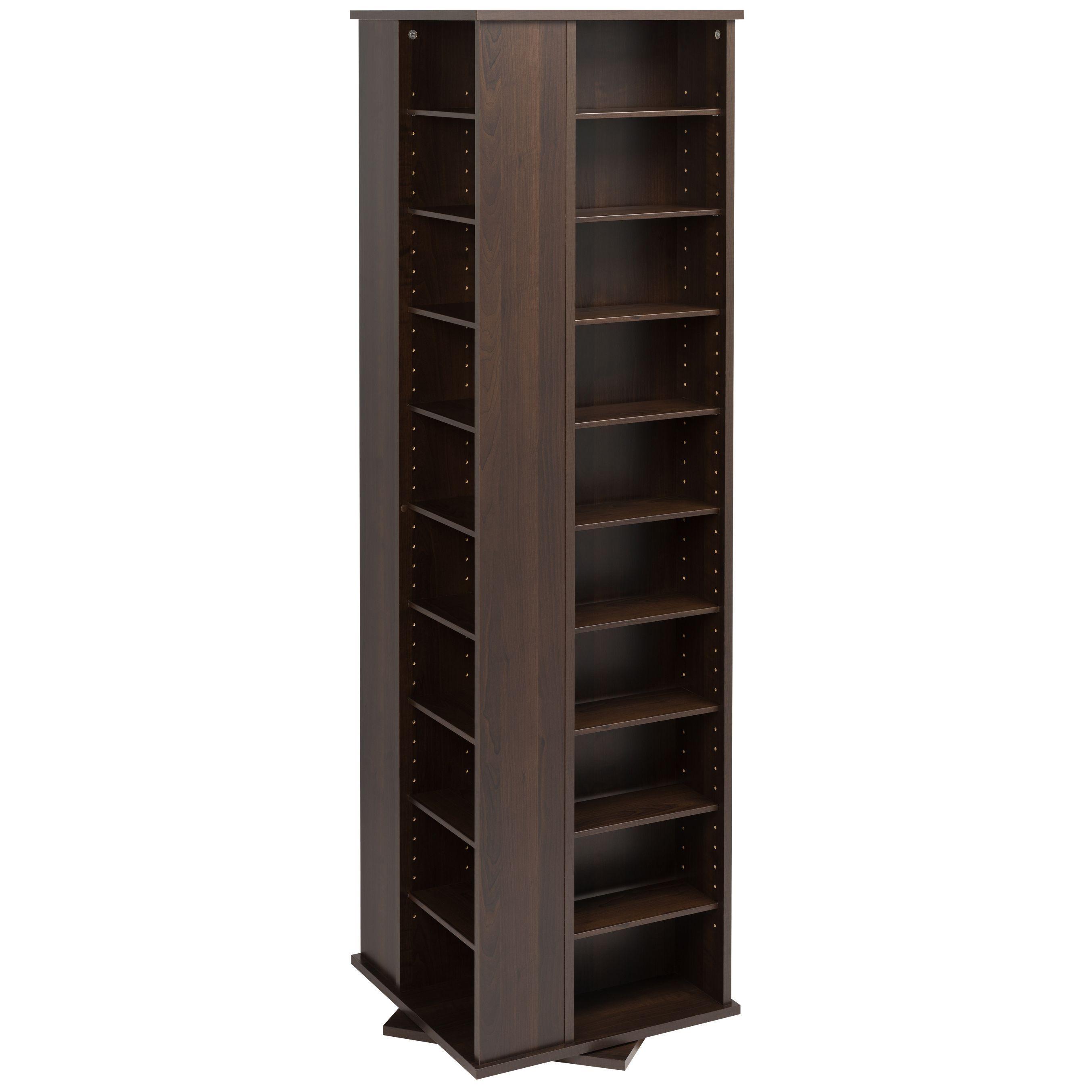 Prepac Everett Espresso 4 Sided Spinner Media Storage Cabinet