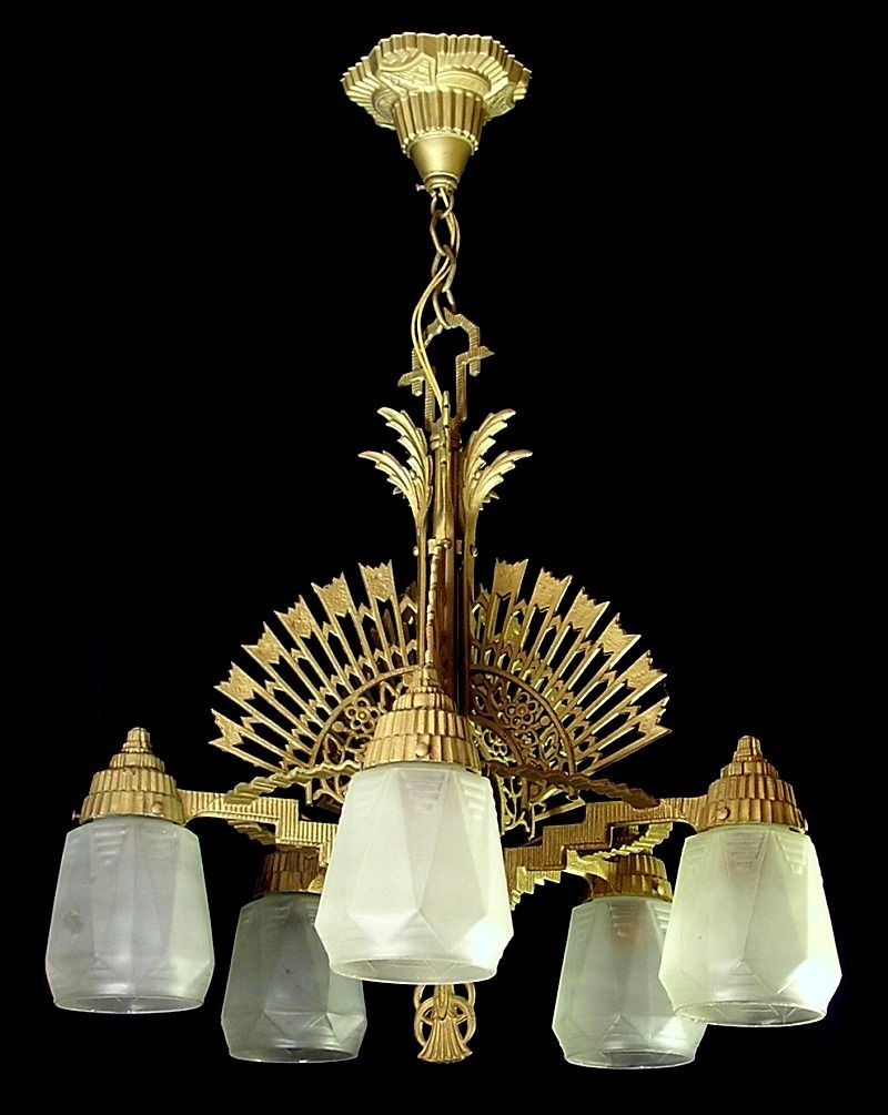 Vintage art deco chandelier light fixture diamond f mfg co deco vintage art deco chandelier light fixture diamond f arubaitofo Gallery