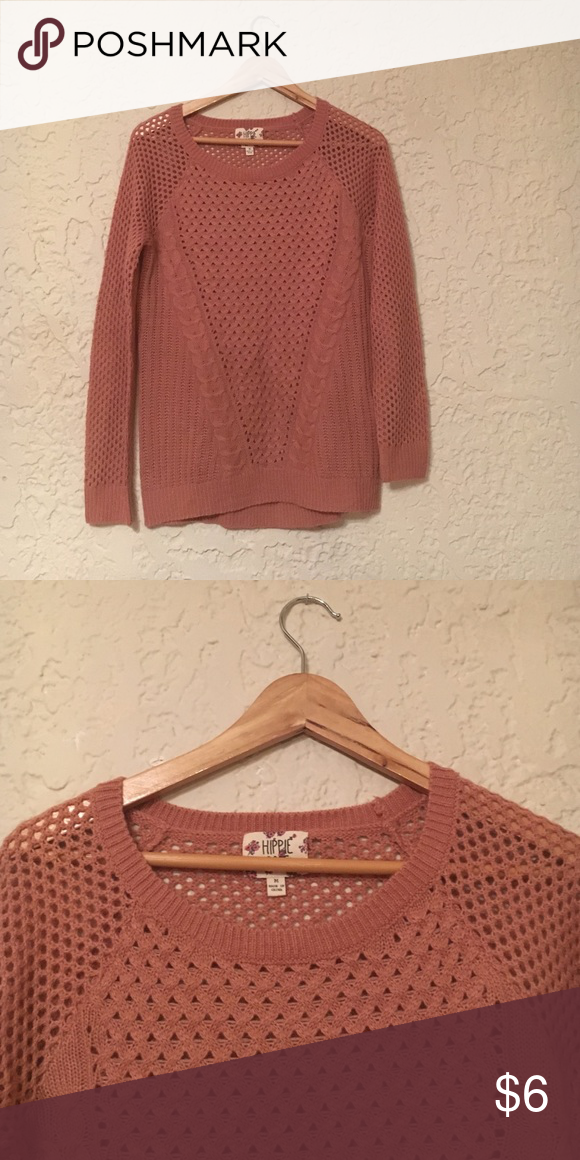 Knit Sweater Salmon colored knit sweater Hippie Rose Sweaters Crew & Scoop Necks