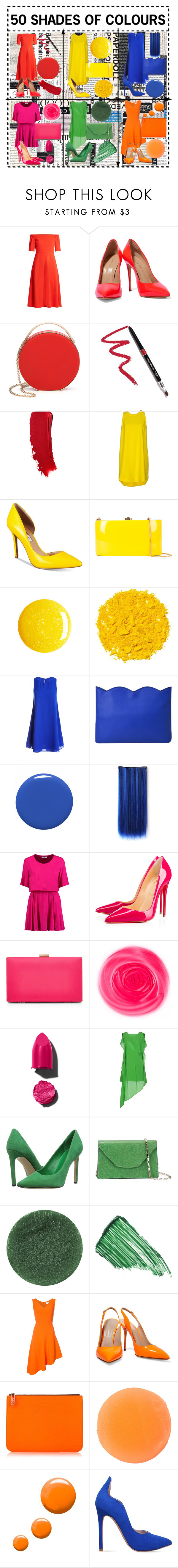 """""""50 SHADES OF COLOURS:Lodovica Comello"""" by theajames101 ❤ liked on Polyvore featuring TIBI, Casadei, Eddie Borgo, Dollup Beauty, Aniye By, INC International Concepts, Rocio, Illamasqua, Sans Souci and Dolce&Gabbana"""