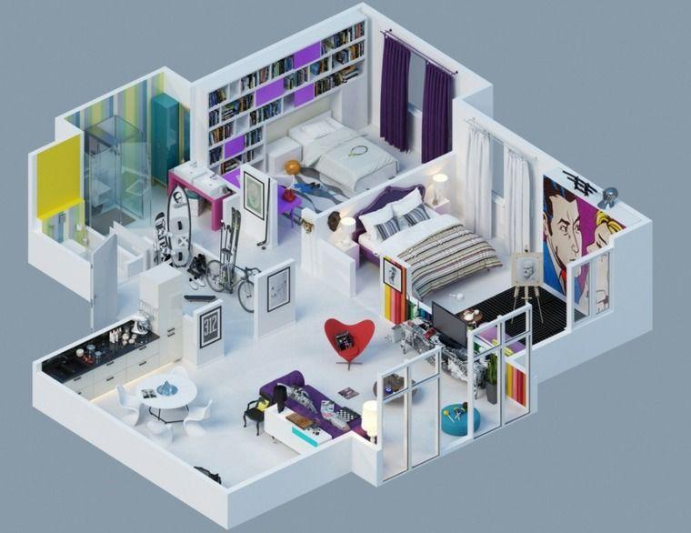 Plan maison 3D d\u0027appartement 2 pièces en 60 exemples Pinterest