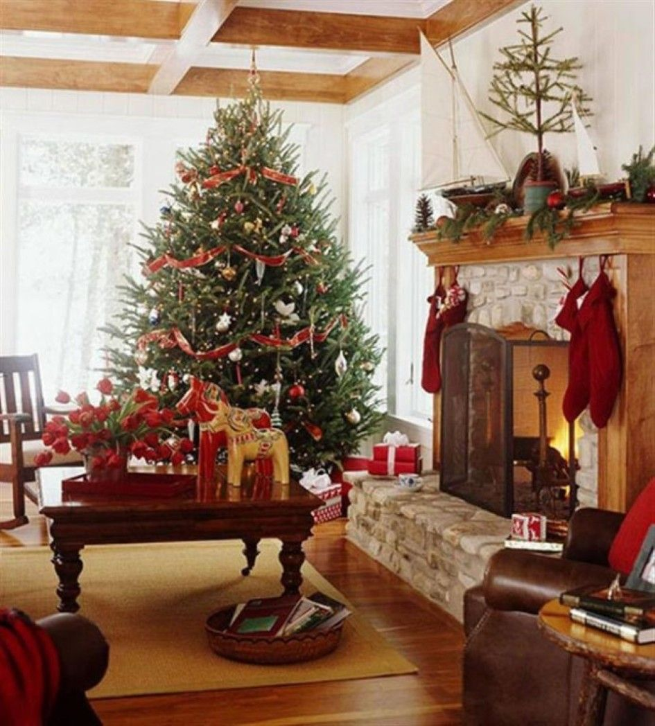 Decoration, Red Stocking Hanging On Fireplace Mantel With Impressive Country Christmas Decor Plus Red Flower Table Centrepiece: The Festive of the Country Christmas Decor Welcome the Day