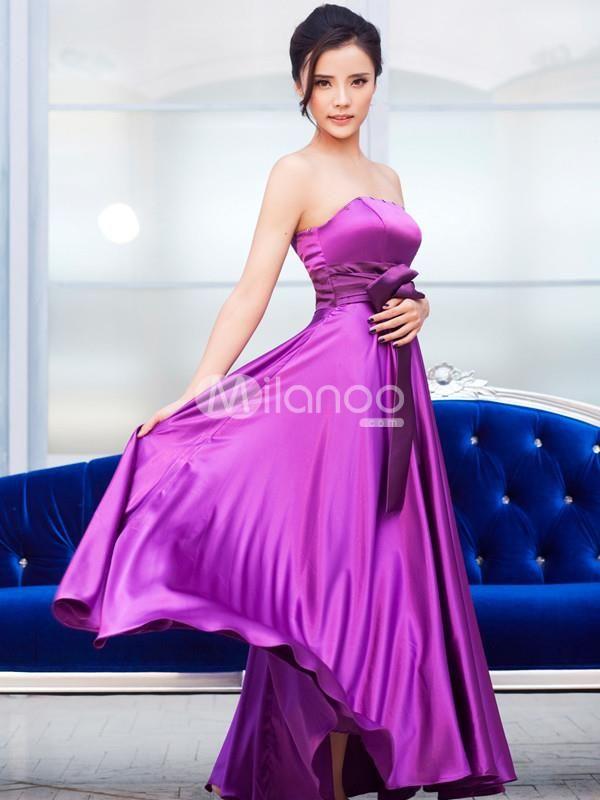 Elegant Lavender Elastic Woven Satin Womens Strapless Prom Dress ...