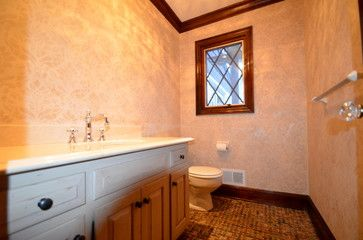 Damask stencil pattern on painted bathroom walls for home decor by Royal Design Studio - Houzz