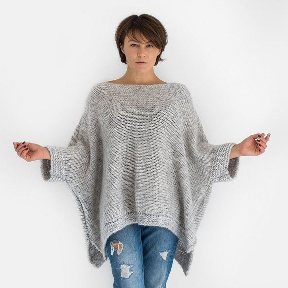 Grey oversized alpaca knit sweater with short sleeves ...