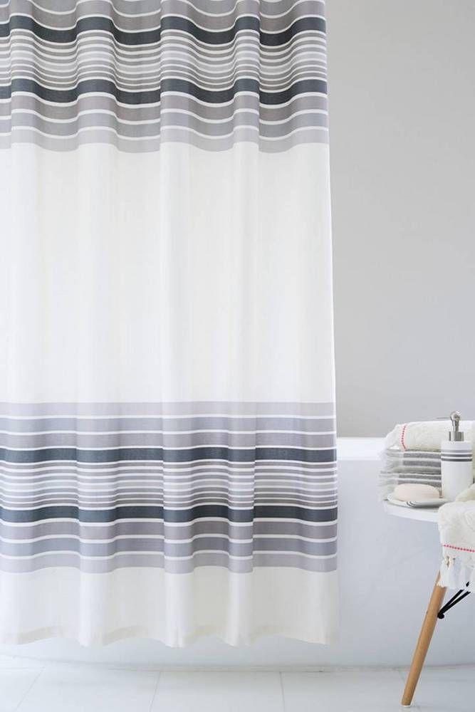 PCarrara Stripe Shower Curtain In Vintage White